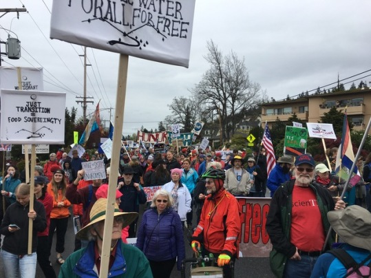 Peaceful climate marchers in downtown Bellingham